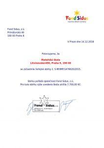 certifikát Fond Sidus